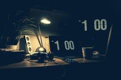 Black Digital Alarm Clock at 1:00 Royalty Free Stock Photos