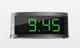 Black digital alarm clock. Vector Illustration Stock Image