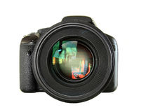 Black digital camera isolated Stock Photography