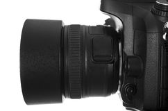 Black digital camera. On white background with clipping path Royalty Free Stock Photography