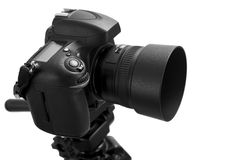 Black digital camera. On white background with clipping path Royalty Free Stock Photo