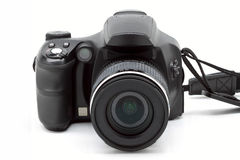Black digital camera on white isolation Royalty Free Stock Photography