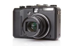 Black digital compact camera Royalty Free Stock Photos
