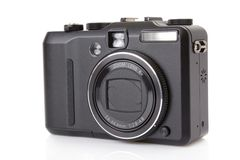 Black digital compact camera Stock Photo
