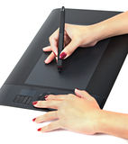 Black digital drawing tablet Stock Photo