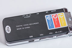 Black digital mp3 voice recorder dictaphone Royalty Free Stock Photography