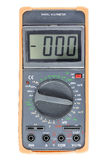 Black Digital Multimeter with orange bumper, front view Stock Image