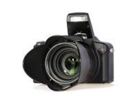 Black Digital Photo Camera on White Background. Close up Professional Black Digital Photo Camera Isolated on White Background Stock Image