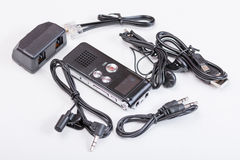 Black digital voice recorder equipment Royalty Free Stock Photos