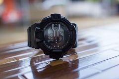 Black digital watch. For outdoor activities sport Royalty Free Stock Photography