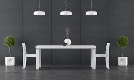 Black dining room with wall blackboard paneling. And white table with chairs - 3d Rendering Royalty Free Stock Photos