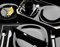 Black Dinnerware Place Setting Royalty Free Stock Photo