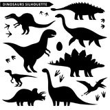 Black dinosaur silhouettes. Dinosaurs silhouette set. Dinosaurs signs isolated on white Royalty Free Stock Photo