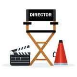 Black director chair. Film directors chair with megaphone, projector, camera and clapboard. Work on the set of the film. Flat vector cartoon illustration Royalty Free Stock Photography