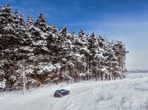 Black dirty hatchback car on winter road in the forest. Trees in snow. Aerial view.  stock image