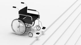 Black disability wheelchair. In front of stairs Stock Photos