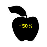 Black discount apple fifty percent. Royalty Free Stock Image