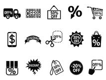 Black discount icons set Stock Photo