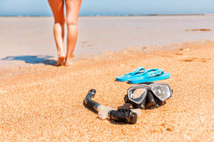Black diving mask and snorkel Stock Images