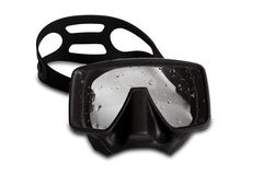 Black diving mask with water drops Royalty Free Stock Photo
