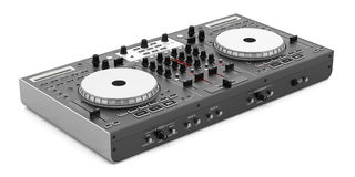 Black dj mixer controller isolated on white Royalty Free Stock Photo