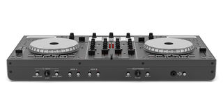 Black dj mixer controller  on white Royalty Free Stock Photo