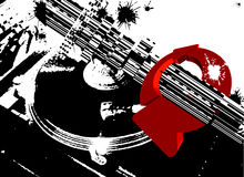 Black DJ Turntable Red Arrows Stock Photography