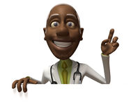 Black doctor with a blank sign stock illustration