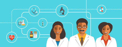 Black doctors team with medical icons Royalty Free Stock Images