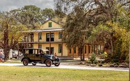 Black 1929 Dodge Brothers Model B drives in front of the 1929 Planetary Court at the 10th Annual Classic Car. Estero, Florida, USA - February 23, 2019: Black stock photos