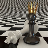 Black does pawn checkmate. 3d render Royalty Free Stock Image