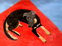 Black dog is lying on the red Mat watercolor Stock Image