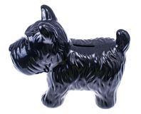 Black dog statuette isolated on white background. Studio Photo royalty free stock photo