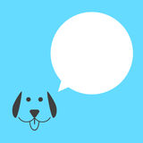 Black dog with white speech bubble Royalty Free Stock Images