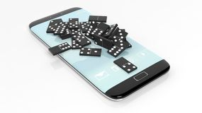 Black domino tiles randomly piled on smartphone screen. On white Royalty Free Stock Photos