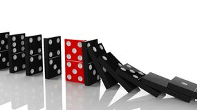 Black domino tiles in a row about to fall. With red one standing on the way, on white Royalty Free Stock Photo