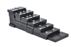 Black dominoes isolated over white Stock Photos