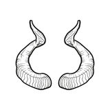 Black doodle contoure of horns isoleted on white Stock Photography