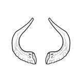 Black doodle contoure of horns isoleted on white Royalty Free Stock Photos