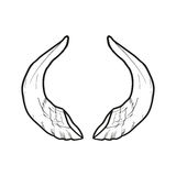 Black doodle contoure of horns isoleted on white Royalty Free Stock Image