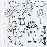 Black doodle elements with kids Stock Photo