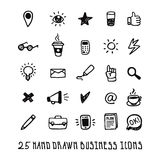 Black doodle hand drawn business icons set Royalty Free Stock Photo