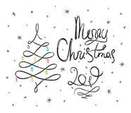 Black doodle Merry Christmas lettering royalty free illustration