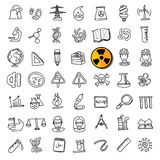 Black doodle science icons set Stock Image
