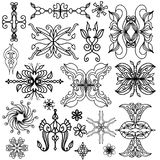 Black doodle style ornament collection Stock Photos