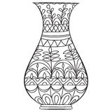 Black doodle vase for flowers. vector illustration