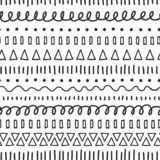 Black doodles seamless vector pattern. Ethnic and tribal motifs. Hand drawn doodle strokes, lines, triangles repeating vector illustration