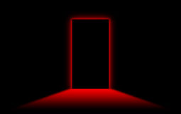 Black door with bright neon light at the other side Stock Photo