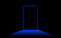 Black door with bright neonlight at the other side Royalty Free Stock Images