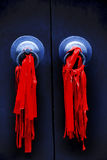 Black Door Red Ribbons Jade Buddha Temple Shanghai Royalty Free Stock Image